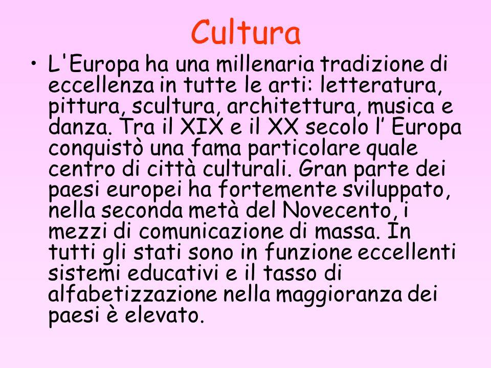 Cultura L'Europa ha una millenaria tradizione di eccellenza in tutte le arti: letteratura, pittura, scultura, architettura, musica e danza. Tra il XIX