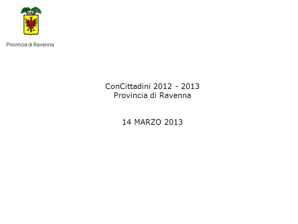 ConCittadini 2012 - 2013 Provincia di Ravenna 14 MARZO 2013 Provincia di Ravenna