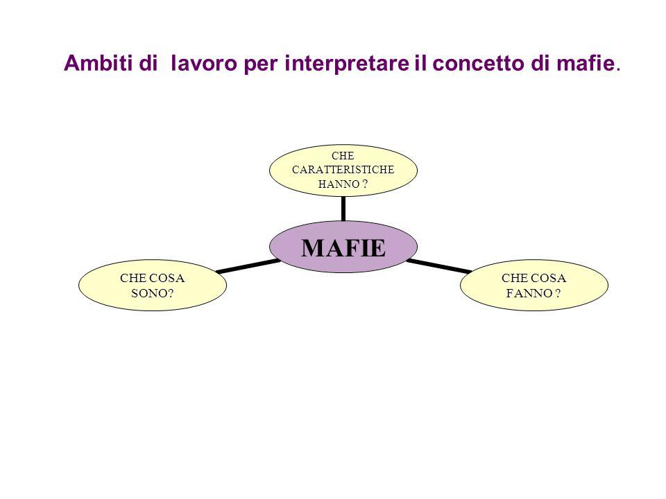 Ambiti di lavoro per interpretare il concetto di mafie. MAFIE CHE CARATTERISTICHE HANNO ? CHE COSA FANNO ? CHE COSA SONO?
