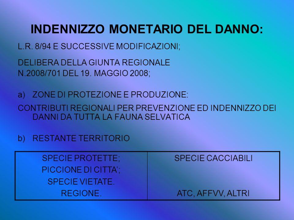 INDENNIZZO MONETARIO DEL DANNO: L.R. 8/94 E SUCCESSIVE MODIFICAZIONI; DELIBERA DELLA GIUNTA REGIONALE N.2008/701 DEL 19. MAGGIO 2008; a)ZONE DI PROTEZ