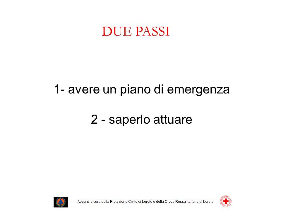1- avere un piano di emergenza 2 - saperlo attuare DUE PASSI