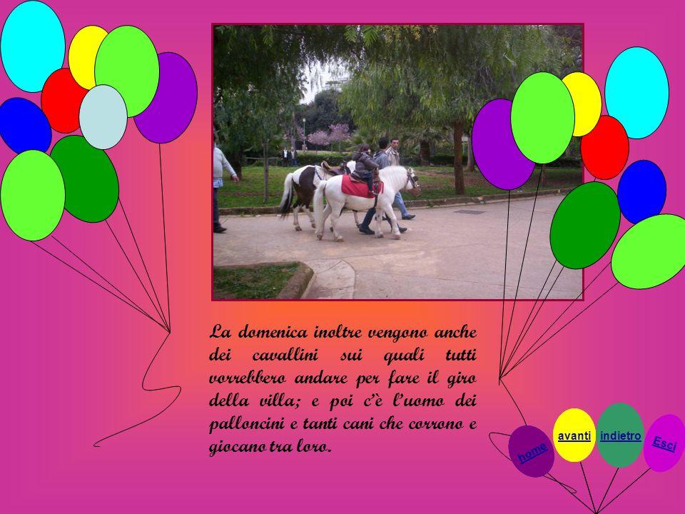 La domenica inoltre vengono anche dei cavallini sui quali tutti vorrebbero andare per fare il giro della villa; e poi cè luomo dei palloncini e tanti