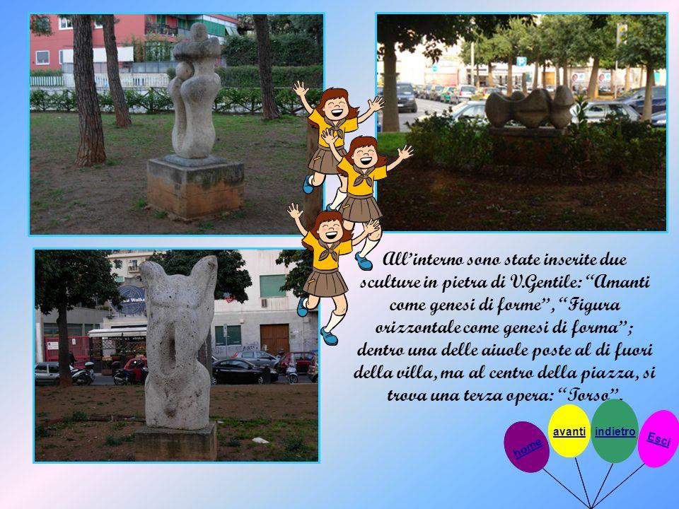 Allinterno sono state inserite due sculture in pietra di V.Gentile: Amanti come genesi di forme, Figura orizzontale come genesi di forma; dentro una d