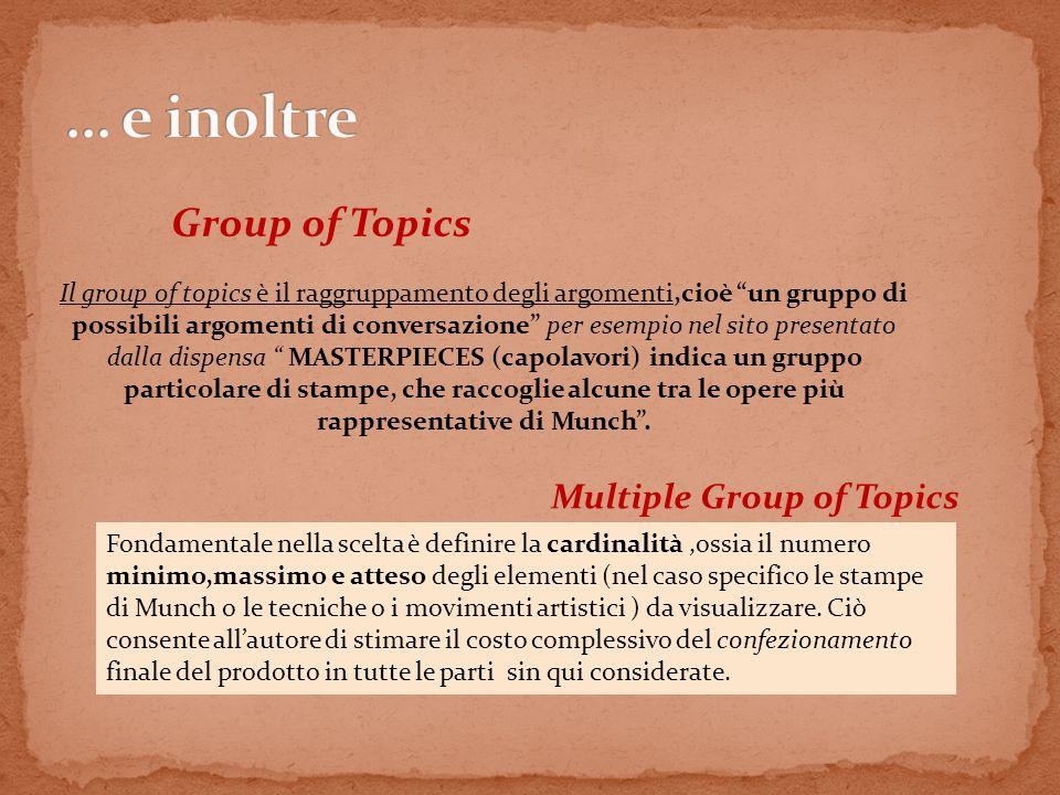 Group of Topics Multiple Group of Topics Il group of topics è il raggruppamento degli argomenti,cioè un gruppo di possibili argomenti di conversazione