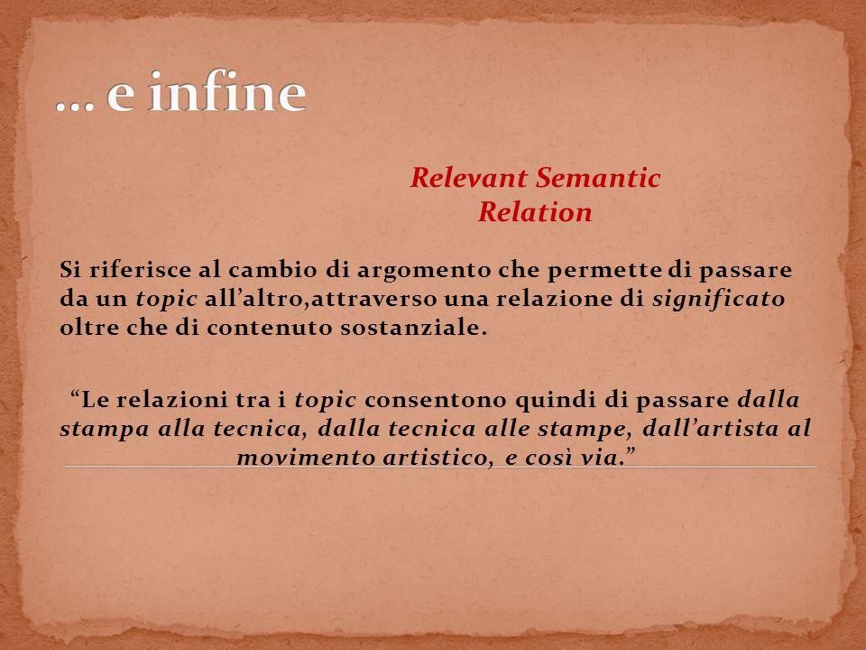 Relevant Semantic Relation Si riferisce al cambio di argomento che permette di passare da un topic allaltro,attraverso una relazione di significato ol