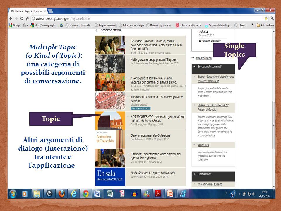 Topic Single Topics Multiple Topic (o Kind of Topic): una categoria di possibili argomenti di conversazione. Altri argomenti di dialogo (interazione)