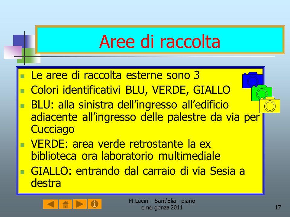 M.Lucini - Sant'Elia - piano emergenza 201117 Aree di raccolta Le aree di raccolta esterne sono 3 Colori identificativi BLU, VERDE, GIALLO BLU: alla s