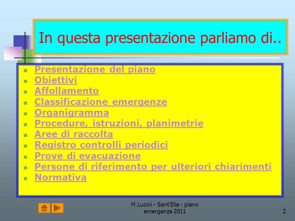 M.Lucini - Sant'Elia - piano emergenza 20112 In questa presentazione parliamo di.. Presentazione del piano Obiettivi Affollamento Classificazione emer