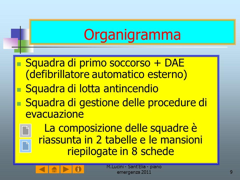 M.Lucini - Sant'Elia - piano emergenza 20119 Organigramma Squadra di primo soccorso + DAE (defibrillatore automatico esterno) Squadra di lotta antince