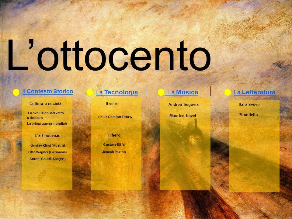 Lottocento Il Contesto Storico La Musica La Letteratura La Tecnologia Cultura e società Lart nouveau Gustav Klimt (Austria) Otto Wagner (Germania) Ant