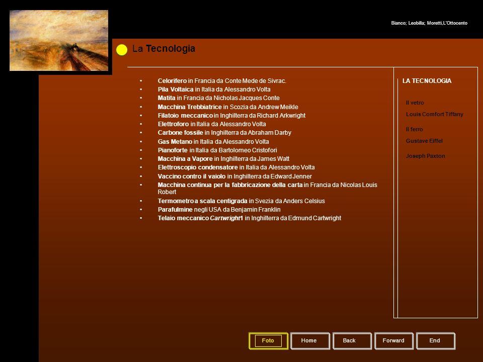 La Tecnologia HomeBack Forward LA TECNOLOGIA Il vetro Louis Comfort Tiffany Il ferro Gustave Eiffel Joseph Paxton Celorifero in Francia da Conte Mede