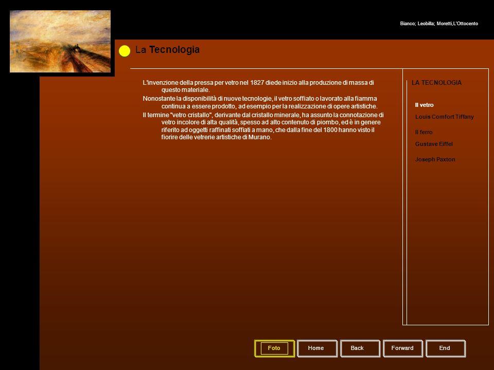 La Tecnologia HomeBack Forward LA TECNOLOGIA Il vetro Louis Comfort Tiffany Il ferro Gustave Eiffel Joseph Paxton Foto L'invenzione della pressa per v
