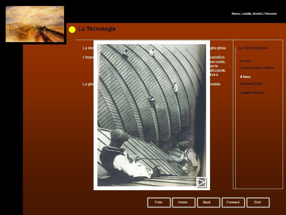La Tecnologia HomeBack Forward LA TECNOLOGIA Il vetro Louis Comfort Tiffany Il ferro Gustave Eiffel Joseph Paxton La storia dell'impiego e della produ
