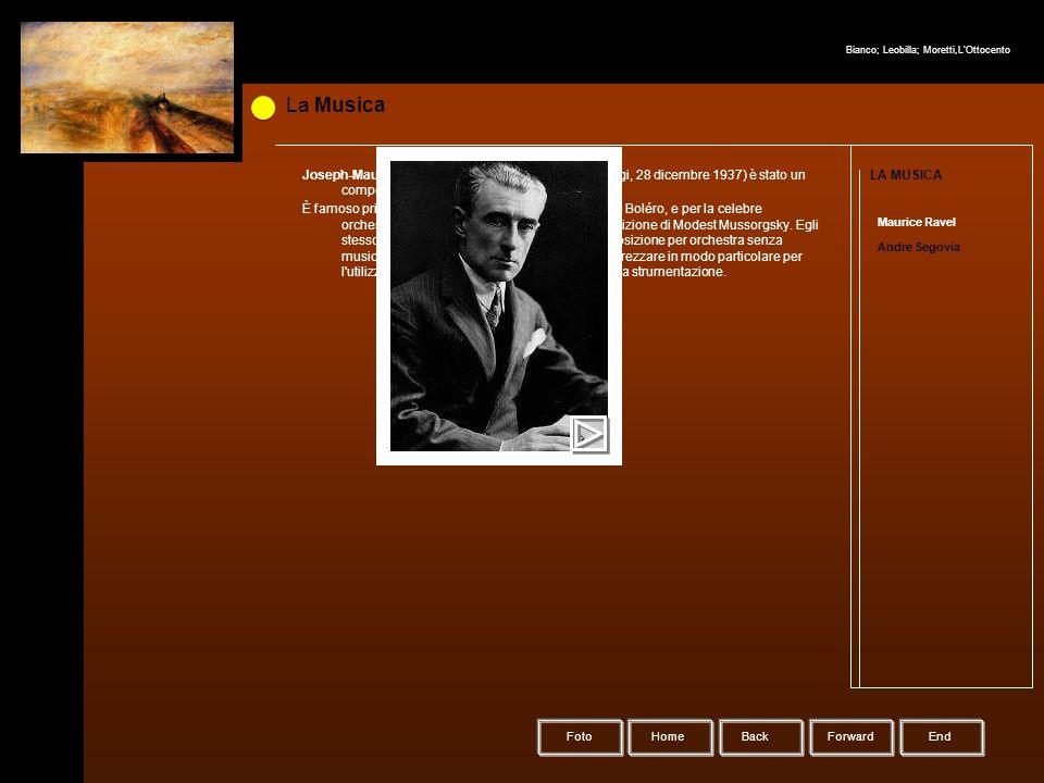 HomeBack Forward Foto La Musica LA MUSICA Maurice Ravel Andre Segovia Joseph-Maurice Ravel (Ciboure, 7 marzo 1875 – Parigi, 28 dicembre 1937) è stato