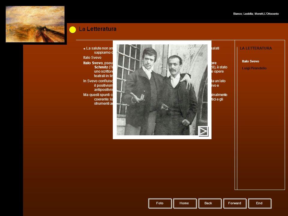 HomeBack Forward Foto LA LETTERATURA Italo Svevo Luigi Pirandello La Letteratura « La salute non analizza se stessa e neppure si guarda allo specchio.
