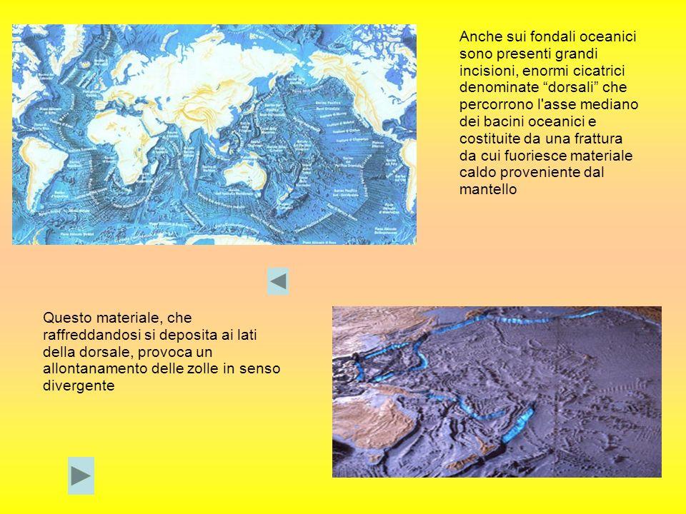Anche sui fondali oceanici sono presenti grandi incisioni, enormi cicatrici denominate dorsali che percorrono l'asse mediano dei bacini oceanici e cos