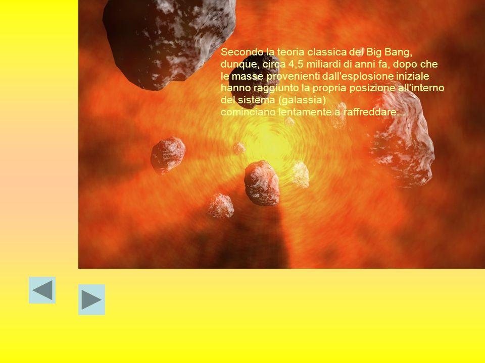 Secondo la teoria classica del Big Bang, dunque, circa 4,5 miliardi di anni fa, dopo che le masse provenienti dall'esplosione iniziale hanno raggiunto