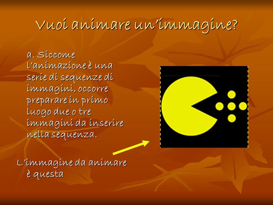 Vuoi animare unimmagine? a. Siccome lanimazione è una serie di sequenze di immagini, occorre preparare in primo luogo due o tre immagini da inserire n