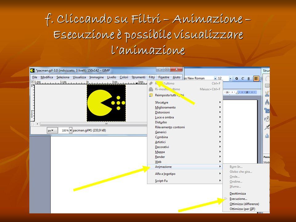 f. Cliccando su Filtri – Animazione – Esecuzione è possibile visualizzare lanimazione