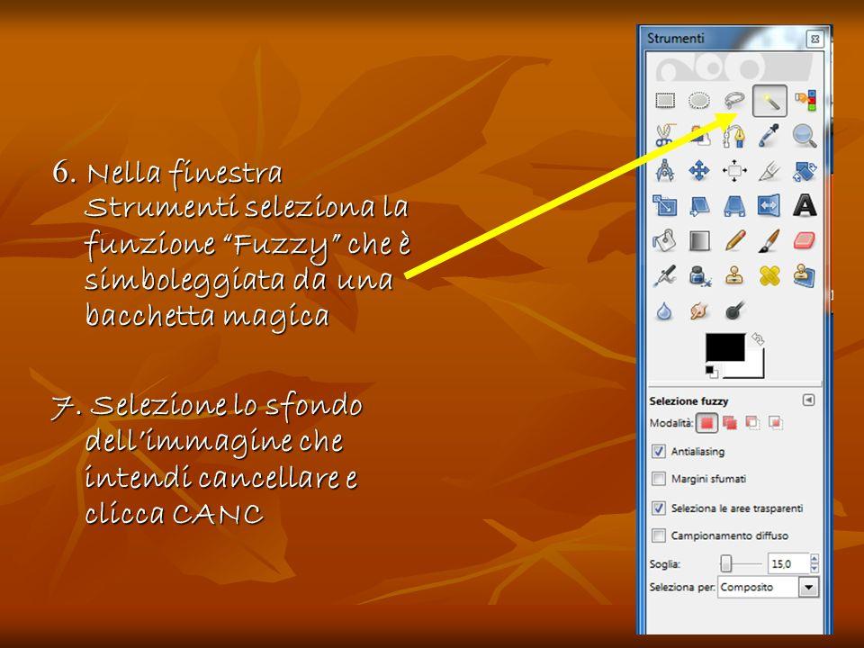 6. Nella finestra Strumenti seleziona la funzione Fuzzy che è simboleggiata da una bacchetta magica 7. Selezione lo sfondo dellimmagine che intendi ca