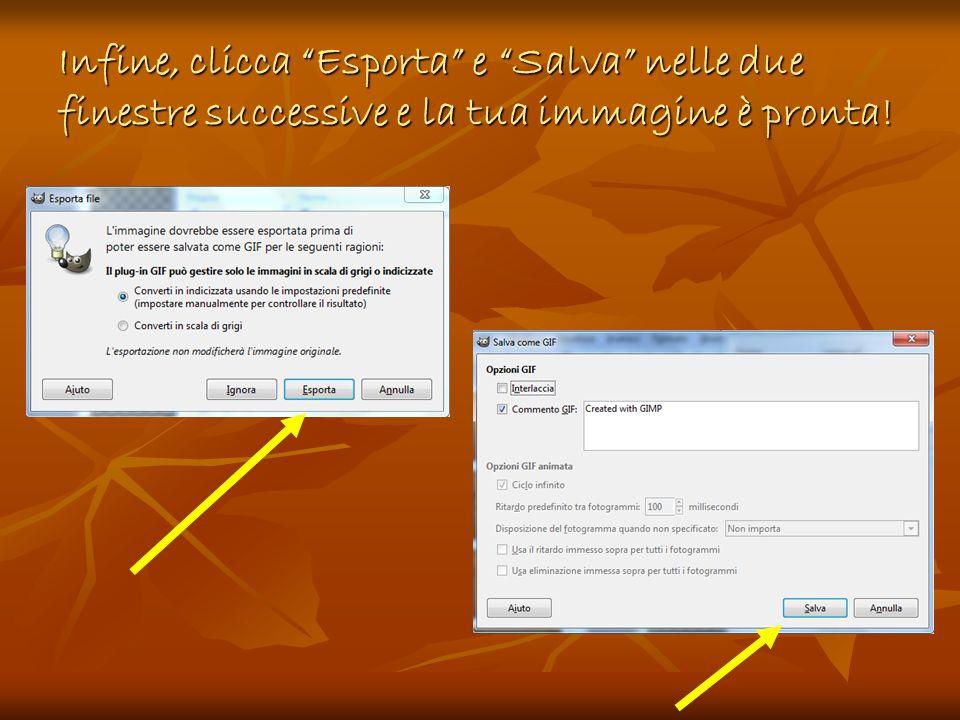 Infine, clicca Esporta e Salva nelle due finestre successive e la tua immagine è pronta!