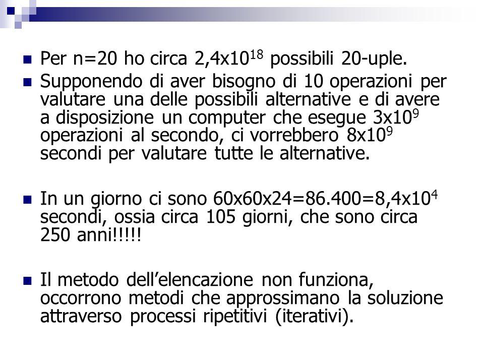 Per n=20 ho circa 2,4x10 18 possibili 20-uple. Supponendo di aver bisogno di 10 operazioni per valutare una delle possibili alternative e di avere a d