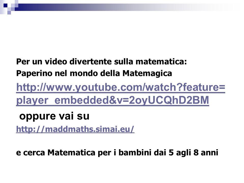 Per un video divertente sulla matematica: Paperino nel mondo della Matemagica http://www.youtube.com/watch?feature= player_embedded&v=2oyUCQhD2BM oppu