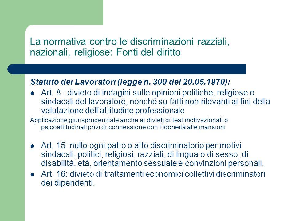 La normativa contro le discriminazioni razziali, nazionali, religiose: Fonti del diritto Statuto dei Lavoratori (legge n. 300 del 20.05.1970): Art. 8