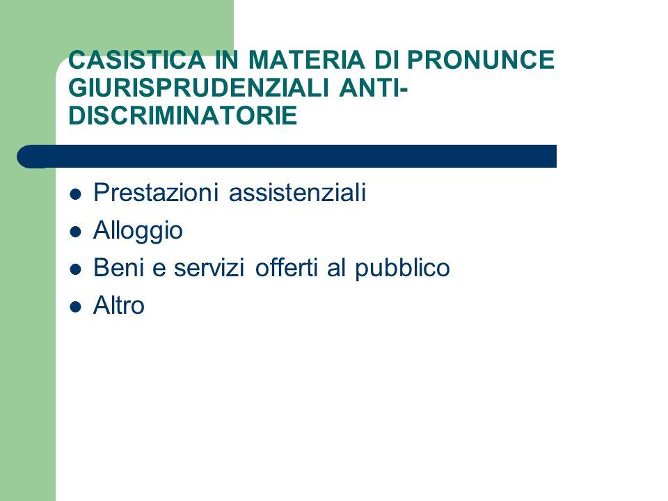 CASISTICA IN MATERIA DI PRONUNCE GIURISPRUDENZIALI ANTI- DISCRIMINATORIE Prestazioni assistenziali Alloggio Beni e servizi offerti al pubblico Altro