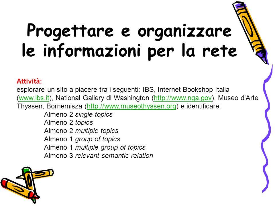 Prima di cominciare lesplorazione del sito IBS, Internet Bookshop Italia (www.ibs.it), mi sembra opportuno ricordare le definizioni degli elementi da identificare: TOPIC = un possibile argomento del dialogo tra lutente e lapplicazione ( Paolini : La progettazione concettuale.