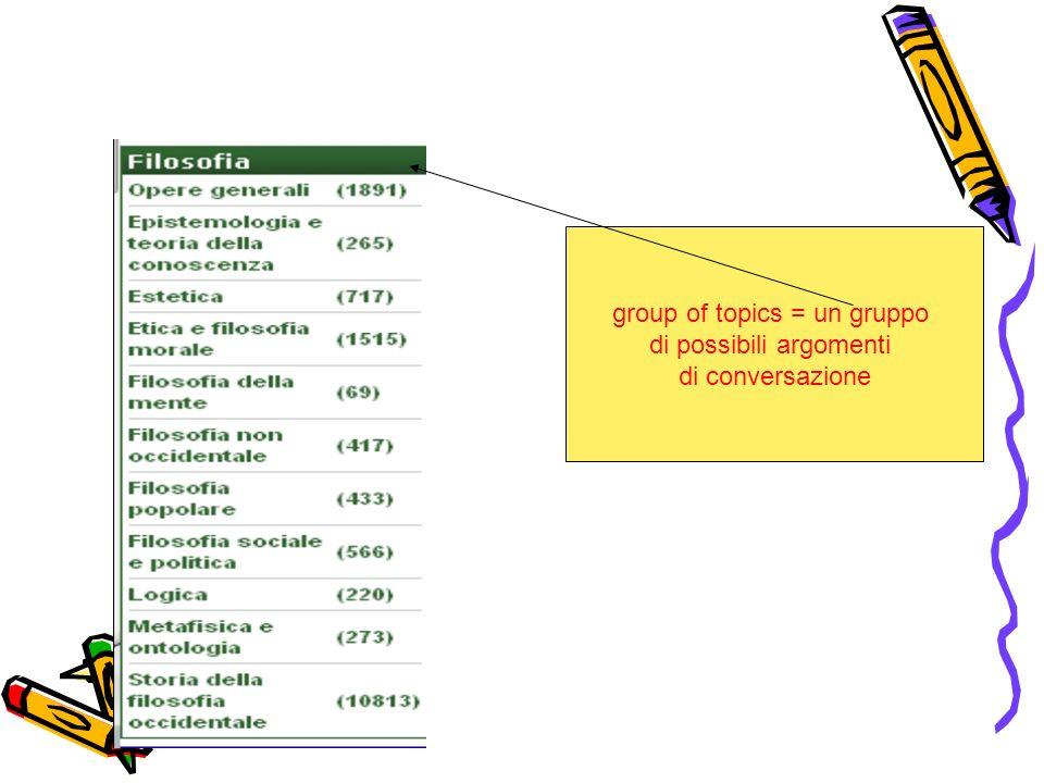 group of topics = un gruppo di possibili argomenti di conversazione