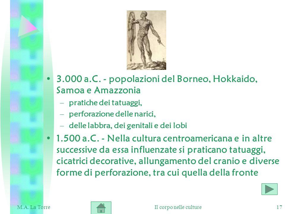 17 3.000 a.C. - popolazioni del Borneo, Hokkaido, Samoa e Amazzonia –pratiche dei tatuaggi, –perforazione delle narici, –delle labbra, dei genitali e