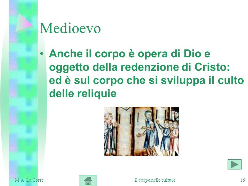 19 Medioevo Anche il corpo è opera di Dio e oggetto della redenzione di Cristo: ed è sul corpo che si sviluppa il culto delle reliquie Il corpo nelle