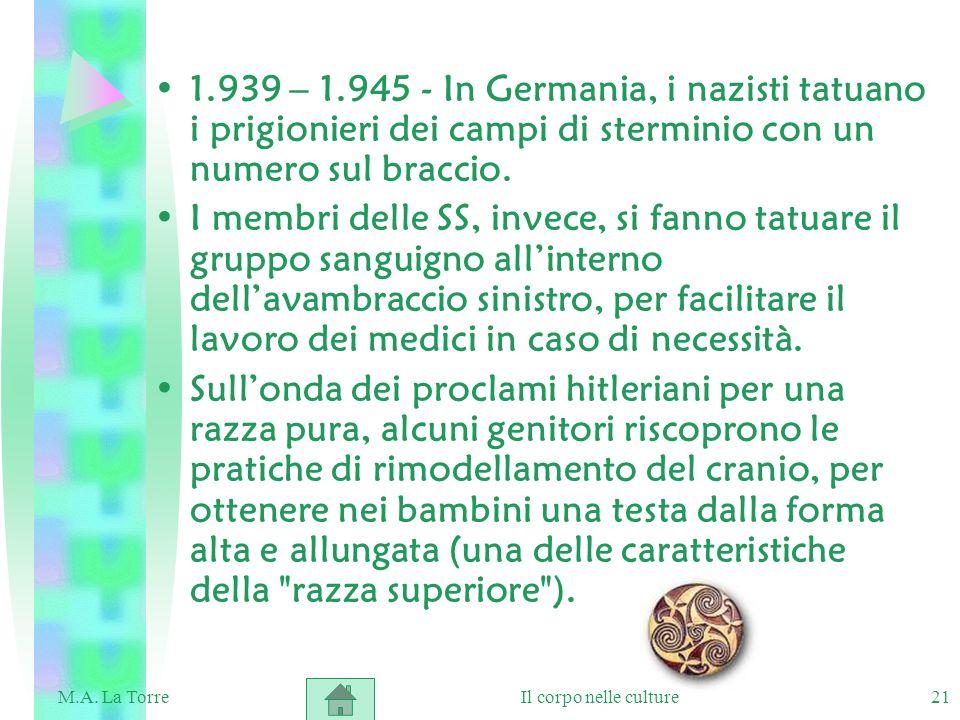21 1.939 – 1.945 - In Germania, i nazisti tatuano i prigionieri dei campi di sterminio con un numero sul braccio. I membri delle SS, invece, si fanno