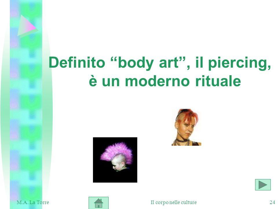 24 Definito body art, il piercing, è un moderno rituale Il corpo nelle cultureM.A. La Torre
