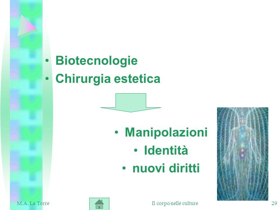 29 Biotecnologie Chirurgia estetica Manipolazioni Identità nuovi diritti Il corpo nelle cultureM.A. La Torre