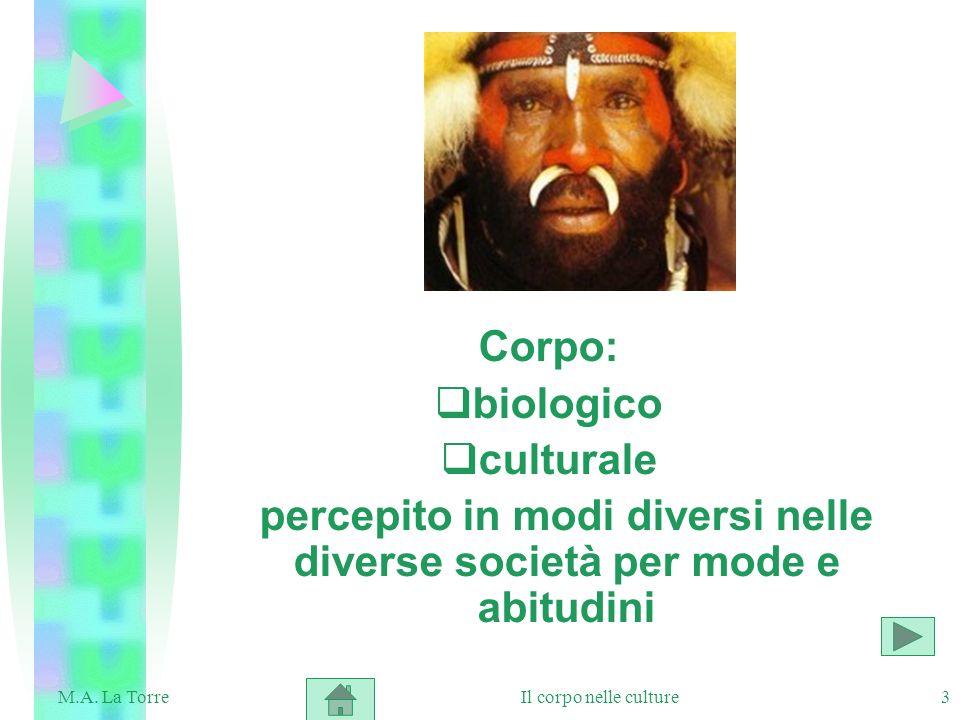 3 Corpo: biologico culturale percepito in modi diversi nelle diverse società per mode e abitudini Il corpo nelle cultureM.A. La Torre