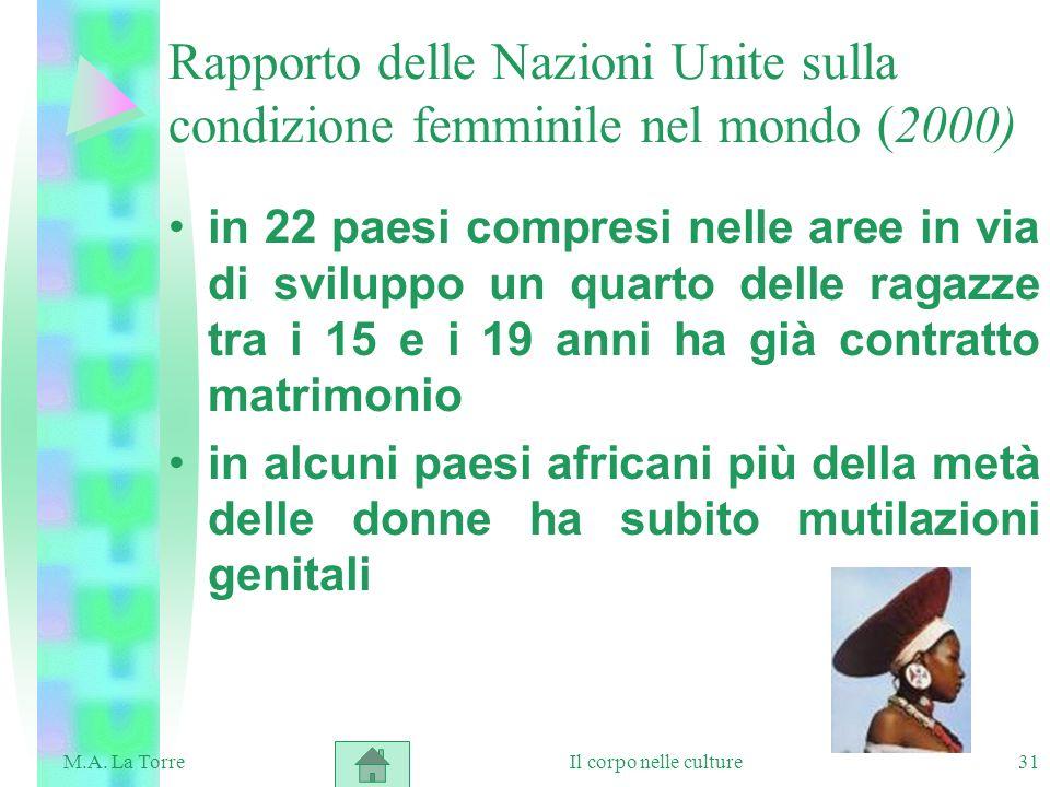 31 Rapporto delle Nazioni Unite sulla condizione femminile nel mondo (2000) in 22 paesi compresi nelle aree in via di sviluppo un quarto delle ragazze