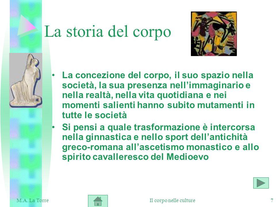 7 La storia del corpo La concezione del corpo, il suo spazio nella società, la sua presenza nellimmaginario e nella realtà, nella vita quotidiana e ne