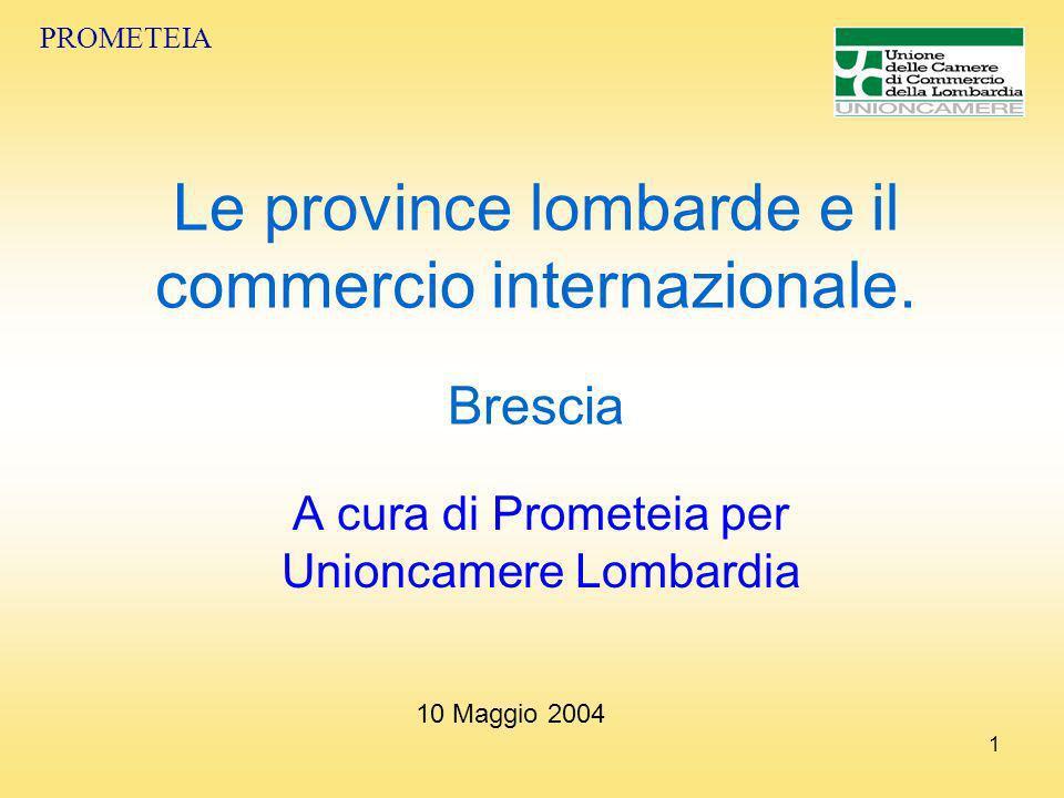 12 PROMETEIA Le province lombarde e il commercio internazionale La composizione per aree geografiche