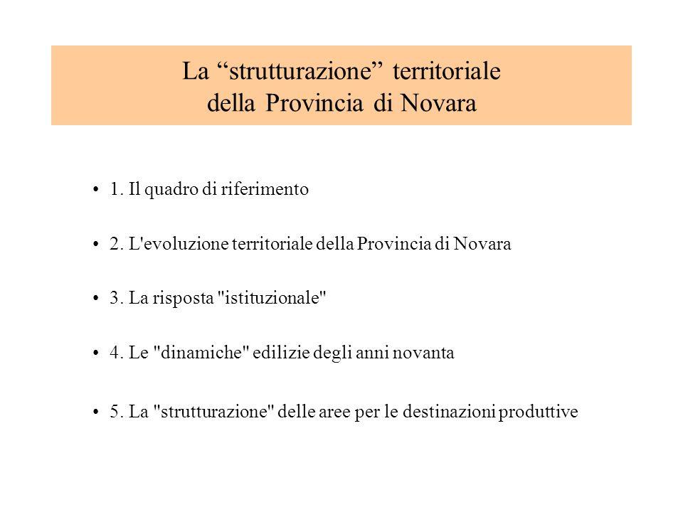 1. Il quadro di riferimento 2. L'evoluzione territoriale della Provincia di Novara 3. La risposta