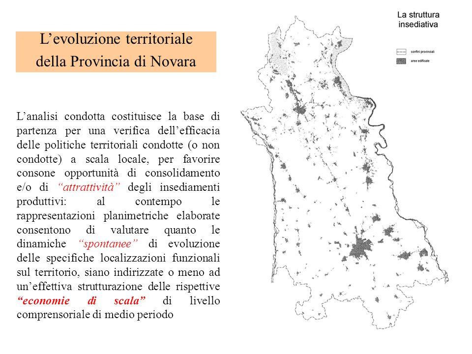 Levoluzione territoriale della Provincia di Novara Lanalisi condotta costituisce la base di partenza per una verifica dellefficacia delle politiche te