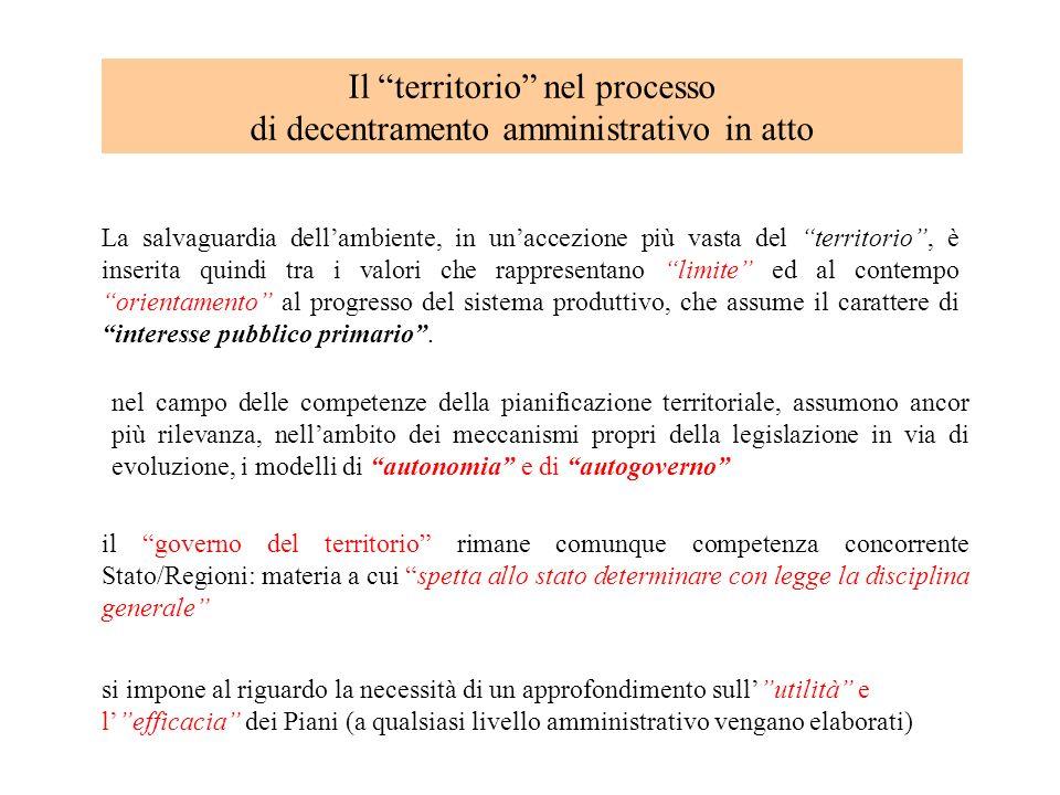Il territorio nel processo di decentramento amministrativo in atto La salvaguardia dellambiente, in unaccezione più vasta del territorio, è inserita q
