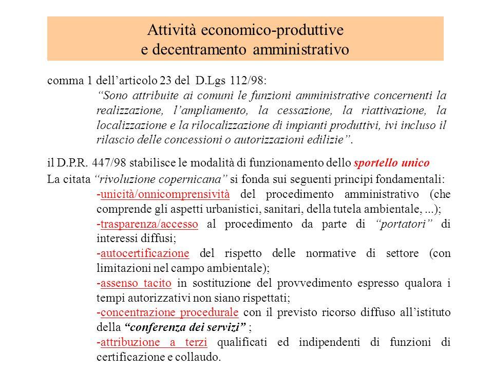Attività economico-produttive e decentramento amministrativo comma 1 dellarticolo 23 del D.Lgs 112/98: Sono attribuite ai comuni le funzioni amministr