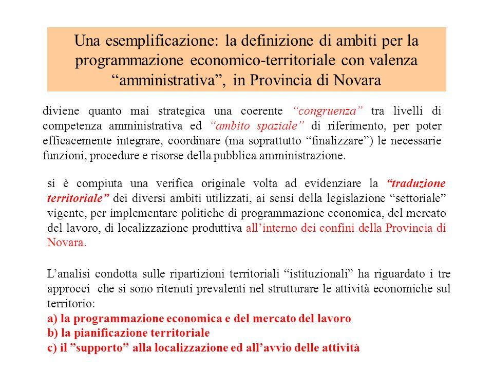 Una esemplificazione: la definizione di ambiti per la programmazione economico-territoriale con valenza amministrativa, in Provincia di Novara diviene