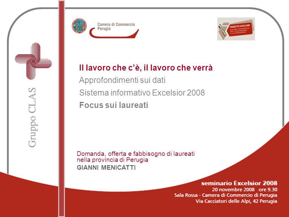 Il lavoro che cè, il lavoro che verrà Approfondimenti sui dati Sistema informativo Excelsior 2008 Focus sui laureati Domanda, offerta e fabbisogno di laureati nella provincia di Perugia GIANNI MENICATTI