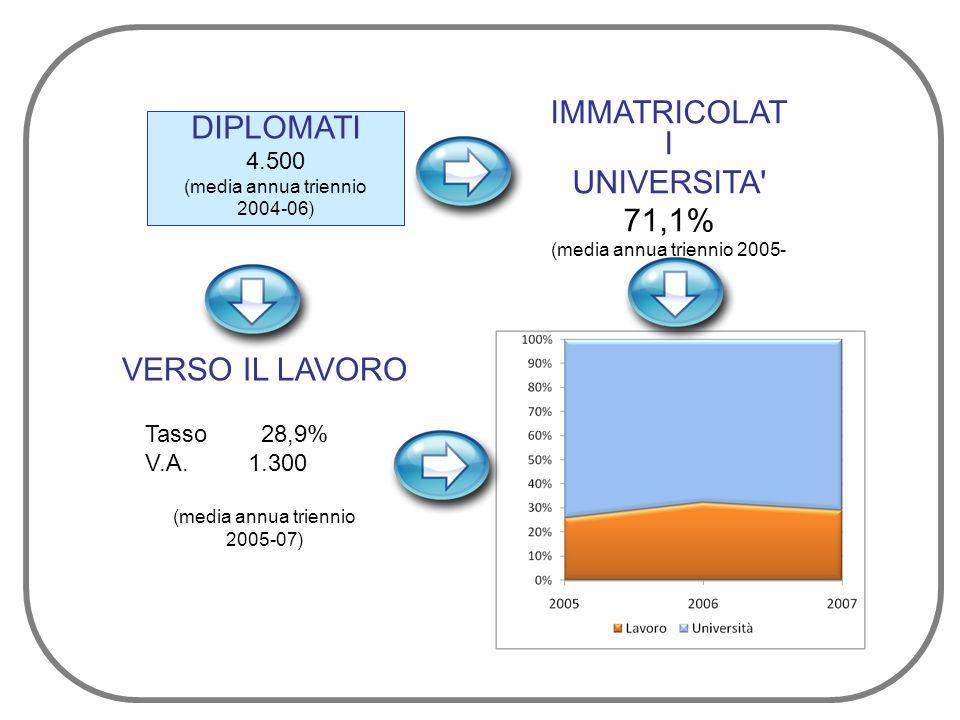 DIPLOMATI 4.500 (media annua triennio 2004-06) IMMATRICOLAT I UNIVERSITA 71,1% (media annua triennio 2005- 07) VERSO IL LAVORO Tasso 28,9% V.A.