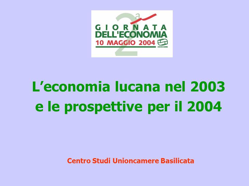 Leconomia lucana nel 2003 e le prospettive per il 2004 Centro Studi Unioncamere Basilicata