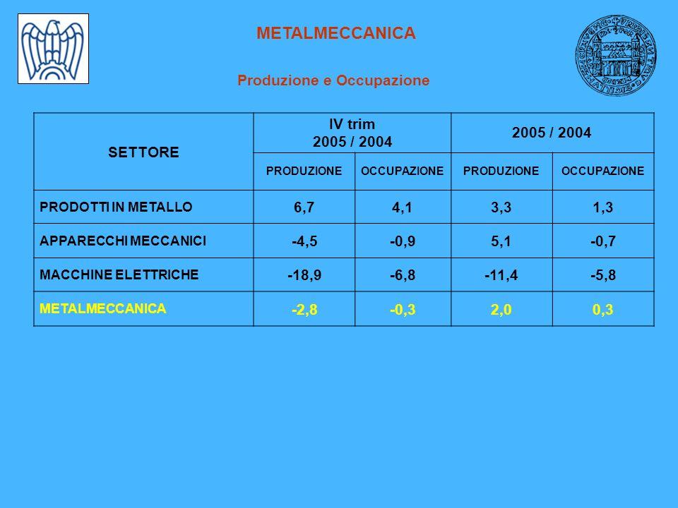 METALMECCANICA Produzione e Occupazione SETTORE IV trim 2005 / 2004 PRODUZIONEOCCUPAZIONEPRODUZIONEOCCUPAZIONE PRODOTTI IN METALLO 6,74,13,31,3 APPARECCHI MECCANICI -4,5-0,95,1-0,7 MACCHINE ELETTRICHE -18,9-6,8-11,4-5,8 METALMECCANICA -2,8-0,32,00,3