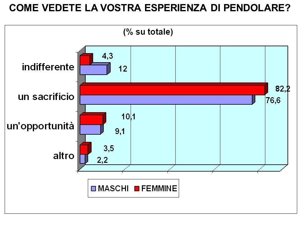 COME VEDETE LA VOSTRA ESPERIENZA DI PENDOLARE (% su totale)